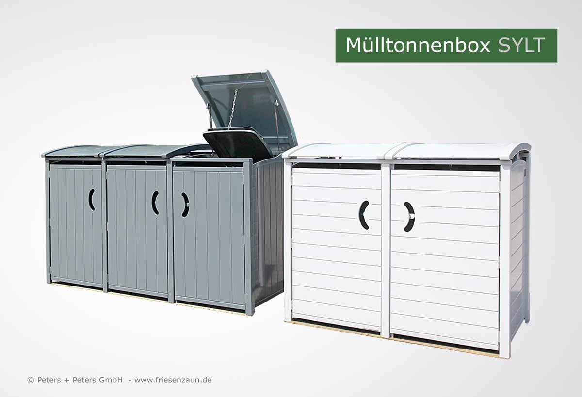 friesenbank-shop - exklusive mülltonnenbox sylt dreier - 3 x 120 liter