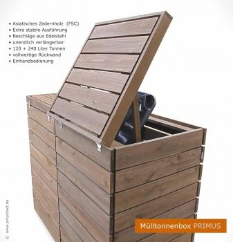 friesenbank shop moderne m lltonnenbox holz fsc zeder. Black Bedroom Furniture Sets. Home Design Ideas
