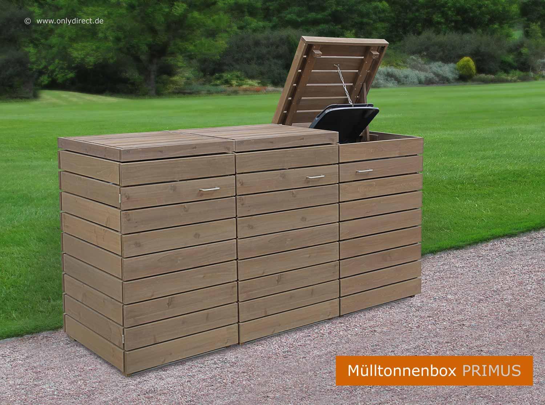 friesenbank-shop - moderne mülltonnenbox holz - fsc zeder für 3 x