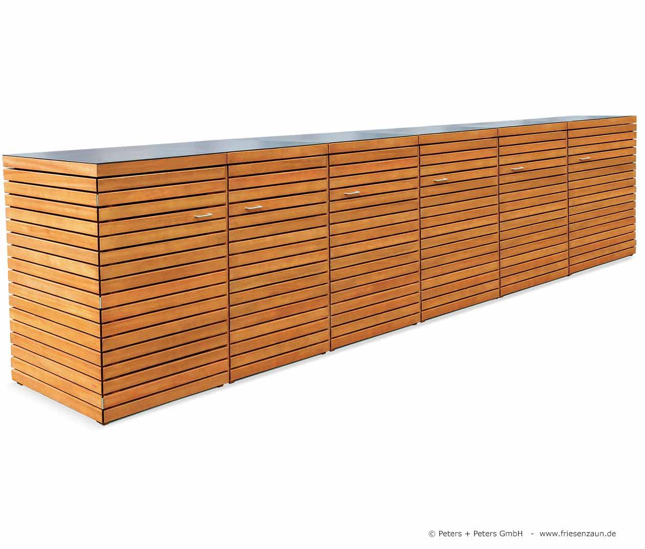 friesenbank shop 6er m lltonnenbox 240 astfreies hartholz ge lt f r 3 tonnen 240 liter. Black Bedroom Furniture Sets. Home Design Ideas
