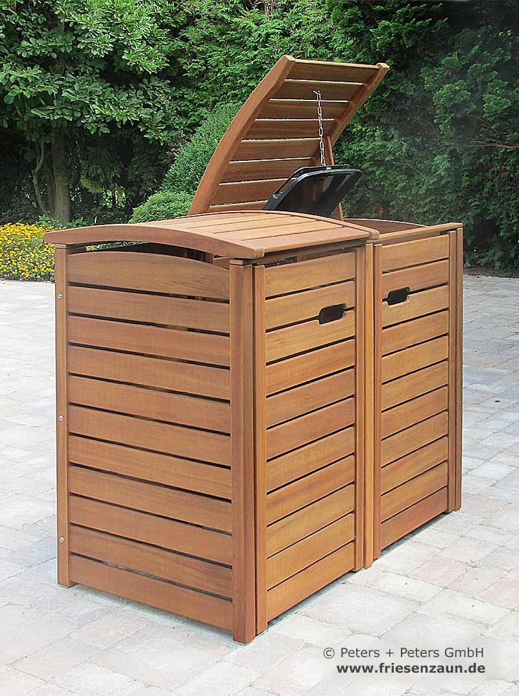 friesenbank-shop - mülltonnenbox holz natur geölt für 2 tonnen 120