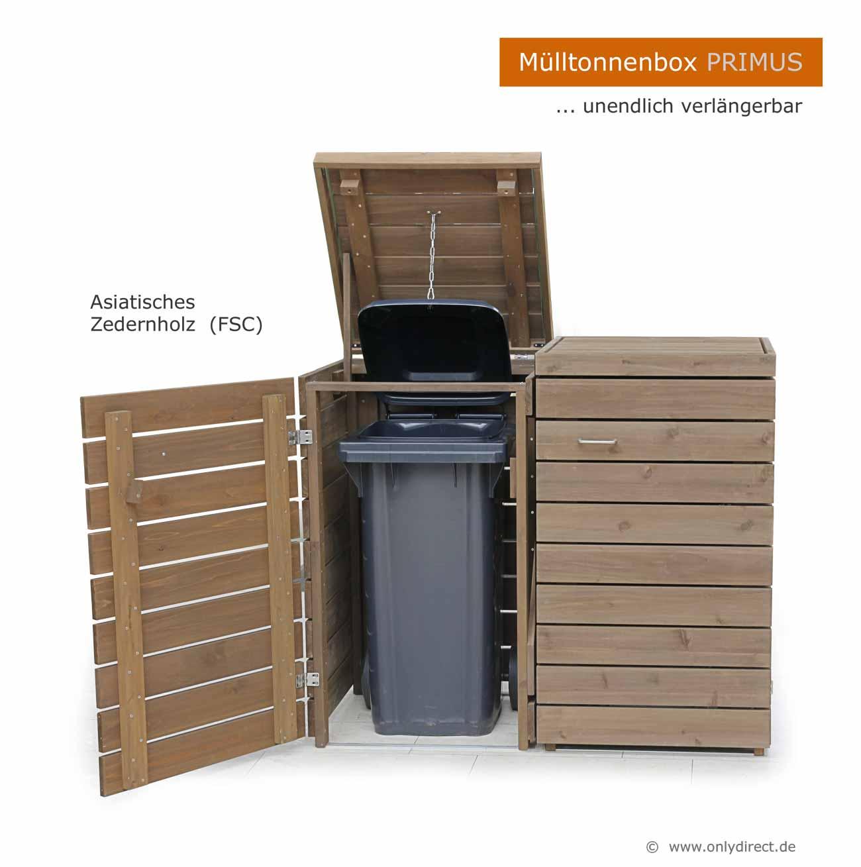 friesenbank-shop - moderne mülltonnenbox holz - fsc zeder für 2 x