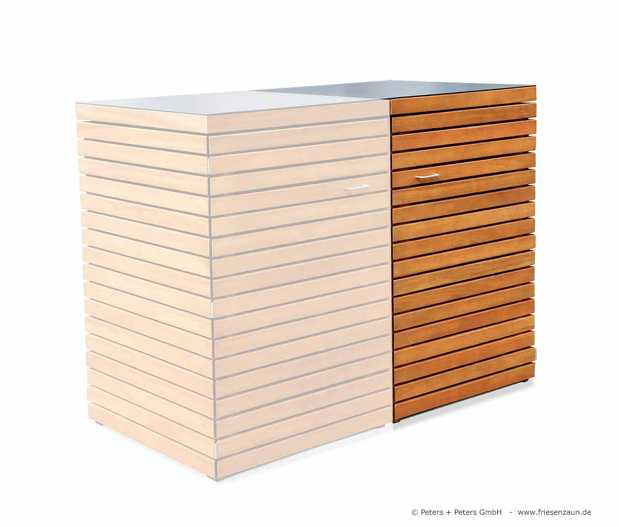 friesenbank-shop - 6er mülltonnenbox 240 - astfreies hartholz geölt